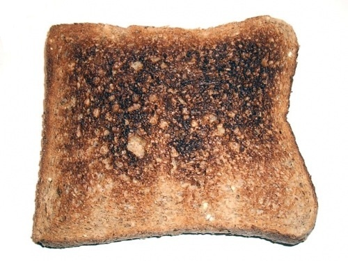 This ordinary toast has no image of Mary or Jesus or anything--it's atheist toast!